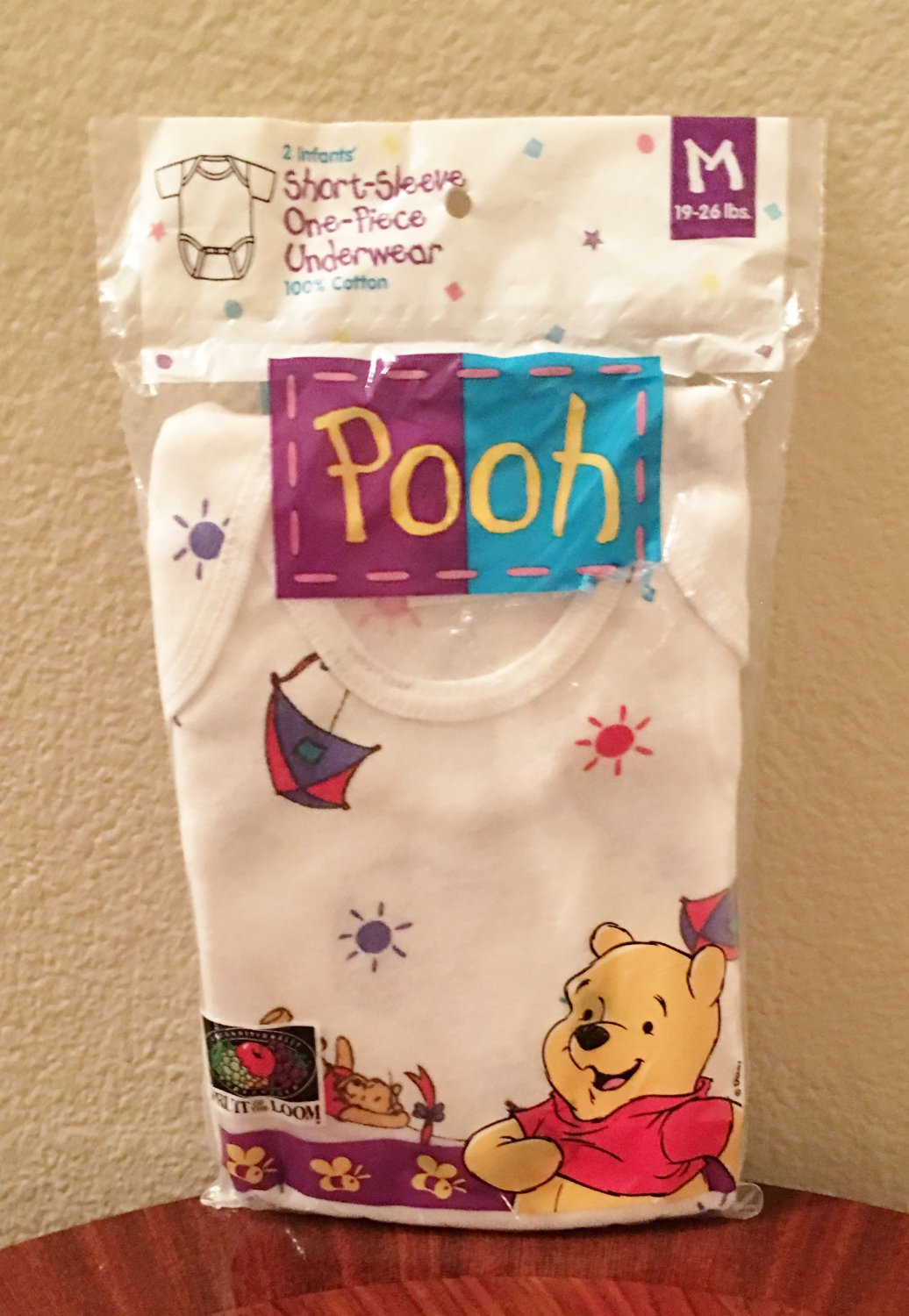 NWT Baby WINNIE the POOH Infant One Piece Bodysuits MEDIUM 100% Cotton 2 PACK