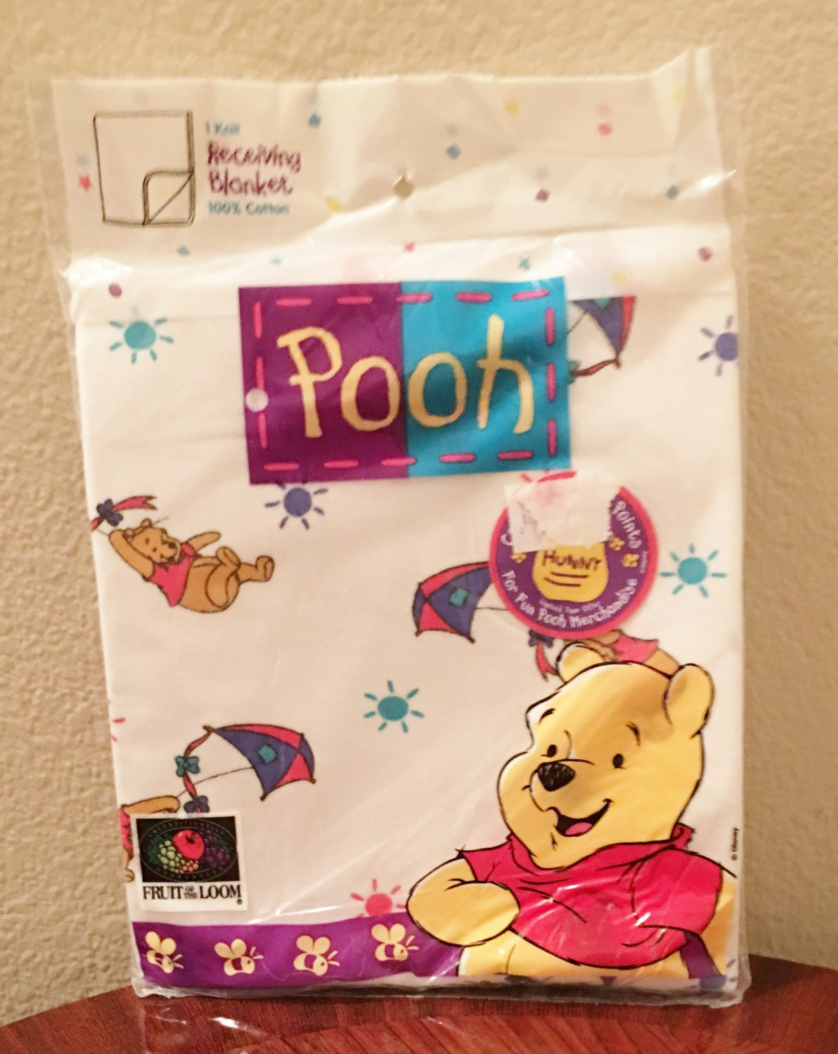 NWT Baby RECEIVING BLANKET WINNIE the POOH Cotton Knit Multicolor
