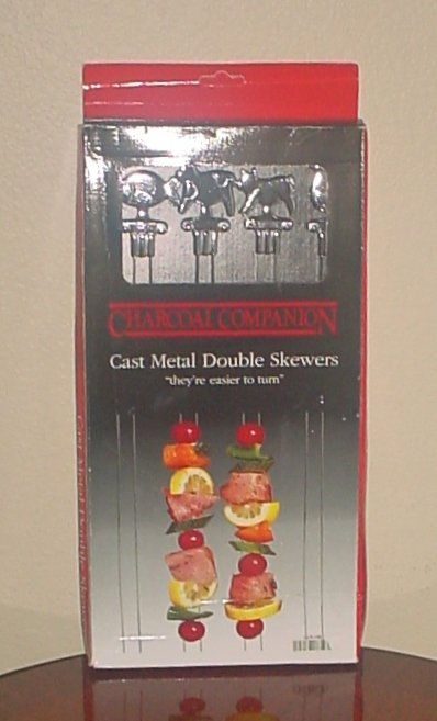 NIB Charcoal Companion BBQ GRILLING DOUBLE SKEWERS Kabob Set of 4 Cast Metal l
