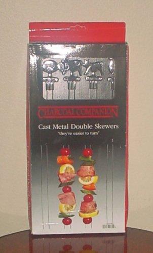 NIB Charcoal Companion BBQ GRILLING DOUBLE SKEWERS Kabob Set of 4 Cast Metal l