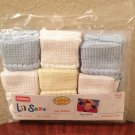 New BABY Li'l Soxx Playschool Infant 6 PACK Socks Newborn-9 Months Pastels Cotton Blend