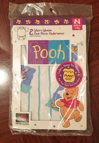 NWT Baby WINNIE the POOH Infant SLIP ON SHIRTS NEWBORN (0-13 lbs) 100% Cotton 2 PACK