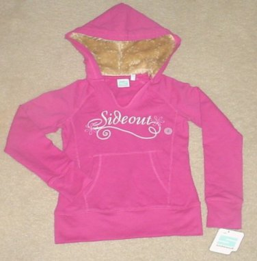New GIRLS Sideout FUR TRIM HOODIE Sweatshirt Top SIZE 16 PINK Cotton/Spandex