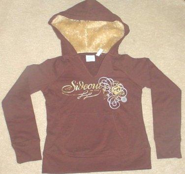 NEW Girls SIDEOUT GRAPHIC HOODIE Fur Trim Sweatshirt Top SIZE 16 BROWN Cotton/Spandex