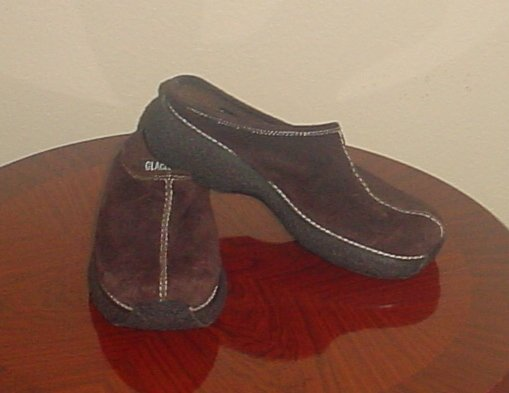 NEW Ladies CLOGS SHOES Glacee Platform Slip-On SIZE 7 M BROWN Suede
