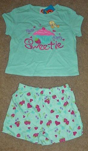NWT Girls SHORT SET Looney Tunes 2 PIECES Size 6/6X Cotton AQUA BLUE