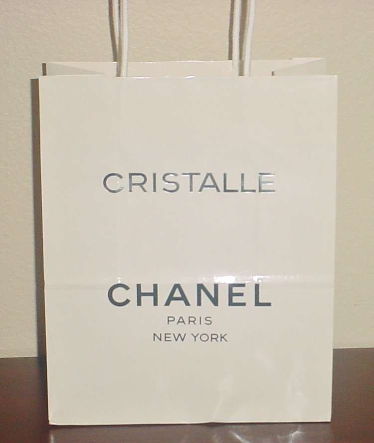 Vintage CHANEL GIFT BAG Glossy Paper Shopping Bag Cristalle Fragrance Collectible