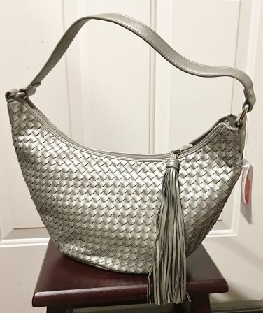NWT Relic HOBO BAG Ladies Woven Leather Purse MATTE SILVER