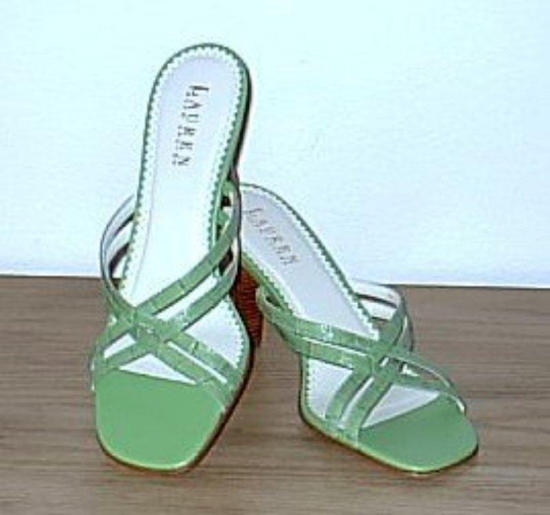NEW Ralph Lauren STRAPPY SANDALS HEELS Size 8 KIWI GREEN Shoes