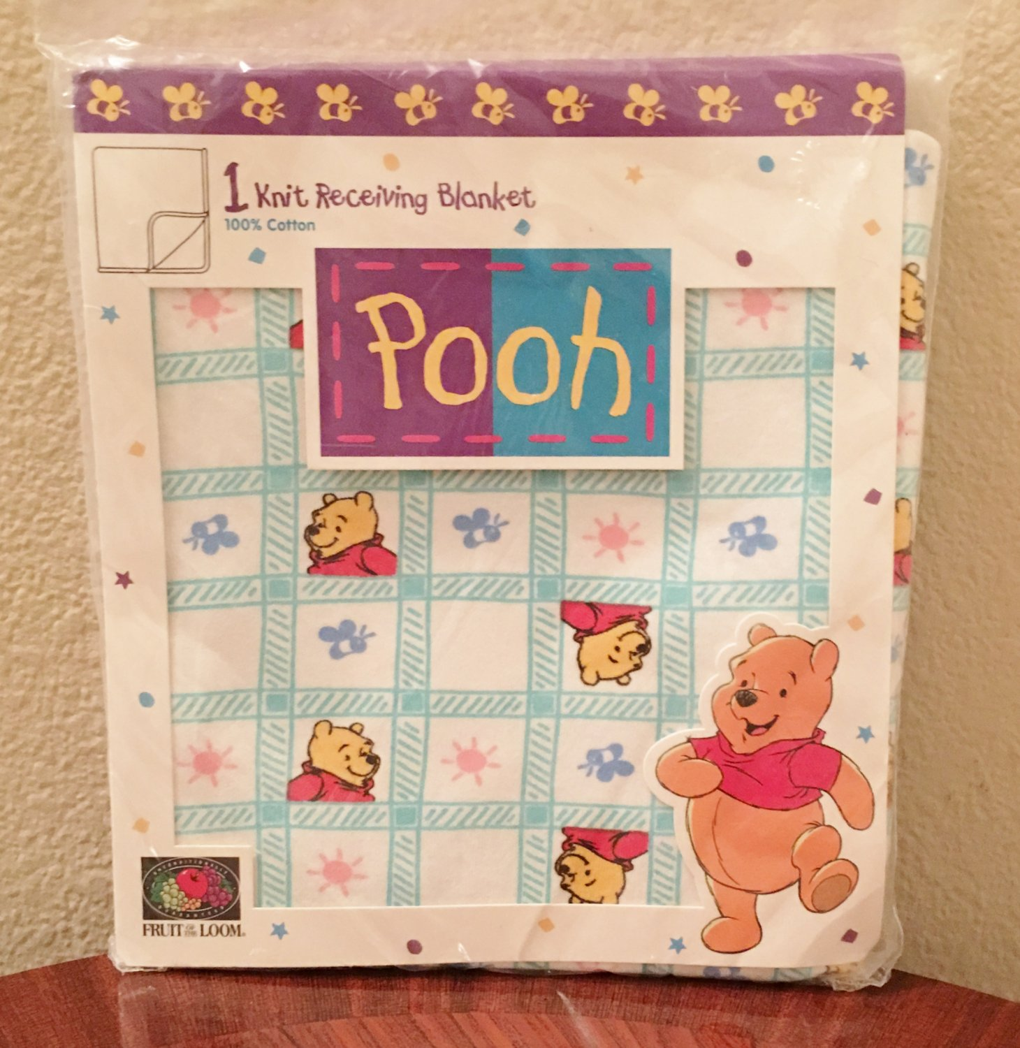 WINNIE the POOH RECEIVING BLANKET Cotton Knit Multicolor Baby Infant NEW