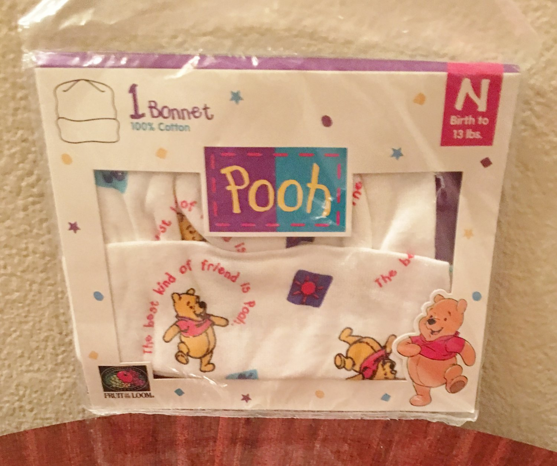 WINNIE POOH BABY BONNET Infant  100% Cotton Knit Cap  NEWBORN