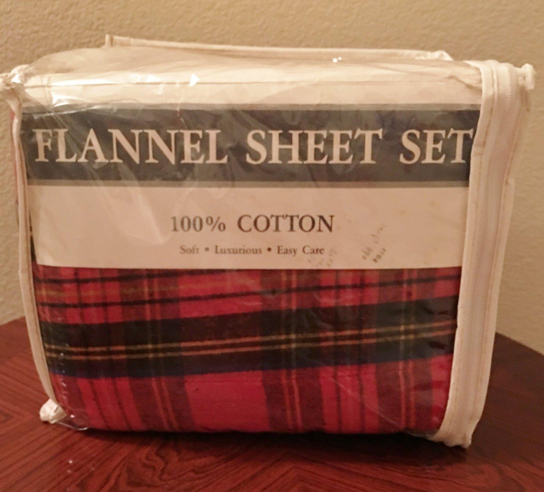 New CAL KING FLANNEL SHEET SET Red Tartan Plaid 4 PIECE Warm 100% Cotton
