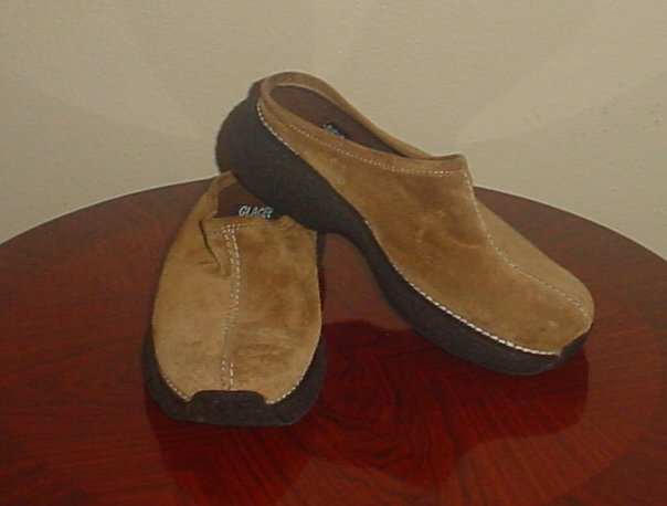NEW Platform CLOGS SHOES Glacee Slip-On SIZE 7.5 CAMEL Suede