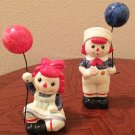 RARE Vintage RAGGEDY ANN & ANDY Ceramic Figurines FITZ & FLOYD 1972 COLLECTIBLES