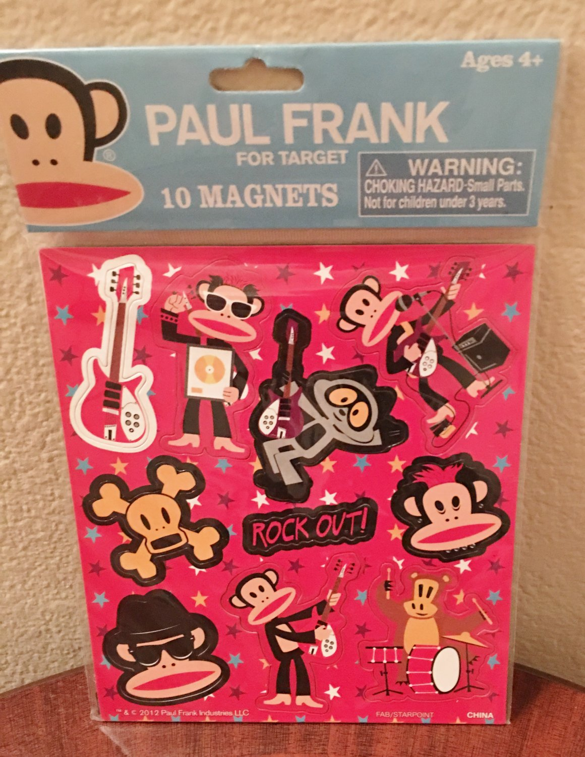 New PAUL FRANK MAGNETS Bright Fun Kids SHEET OF 10