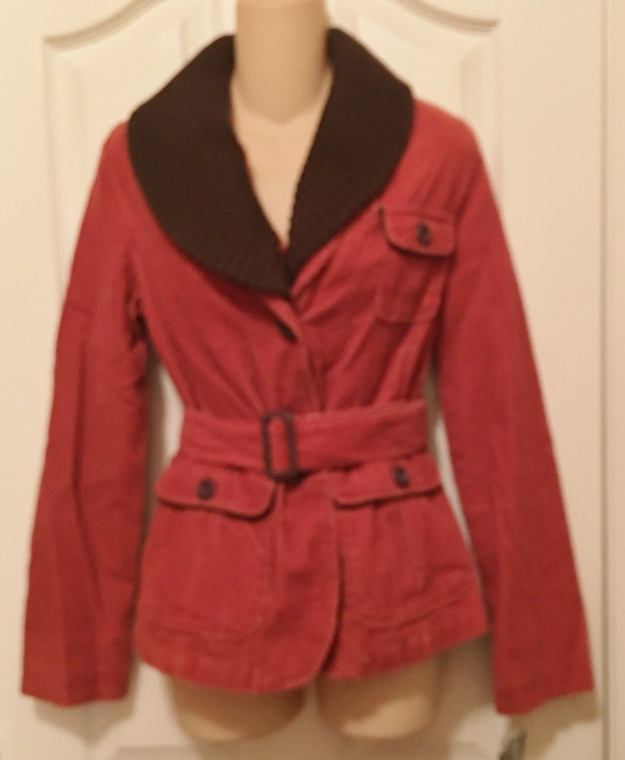 NWT Merona BELTED CORD JACKET Ladies Coat XS BURNT ORANGE Removable Collar