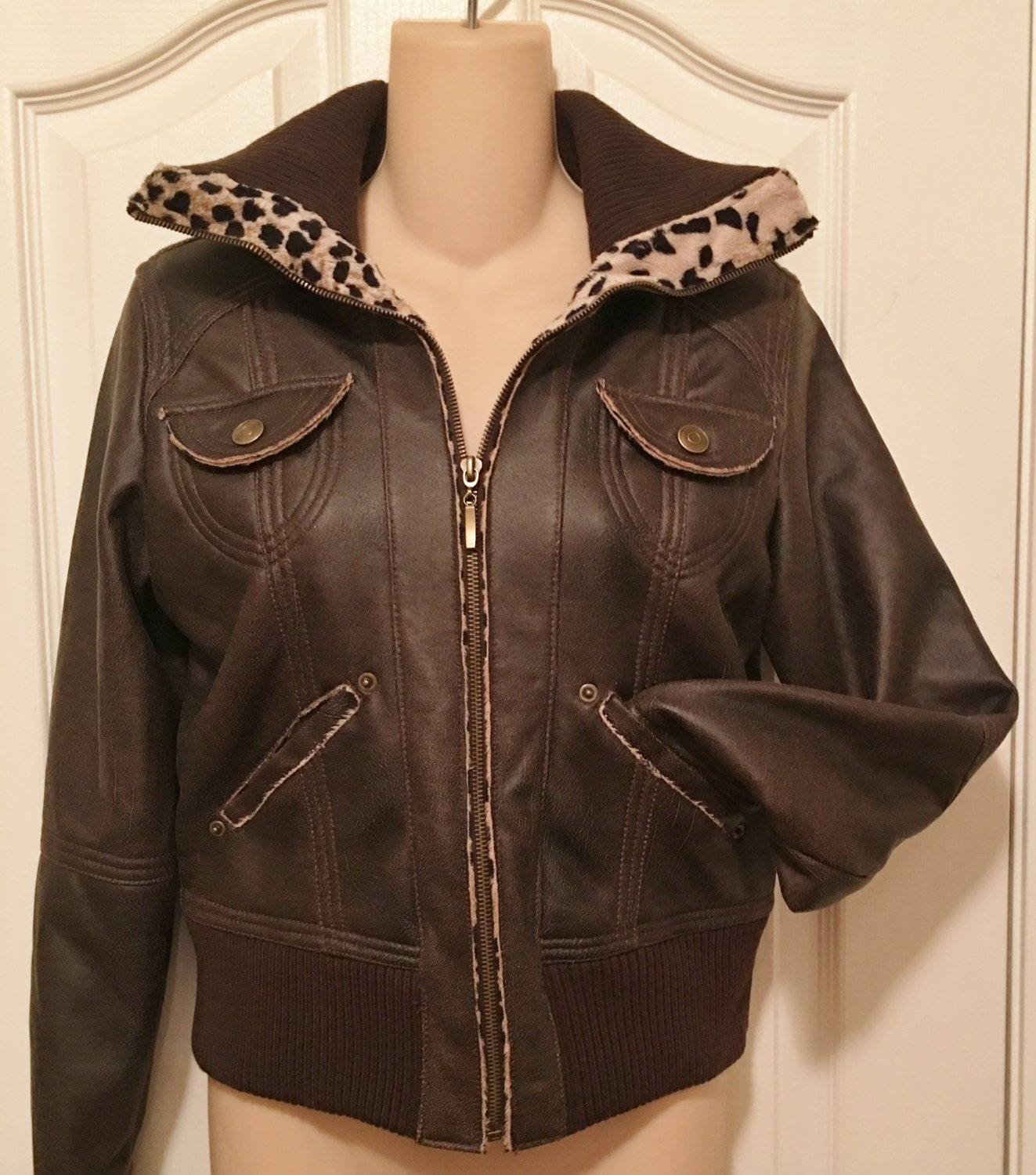 NWT LEATHER BOMBER JACKET Marcelle Renee Faux Fur Lined Coat SMALL BROWN
