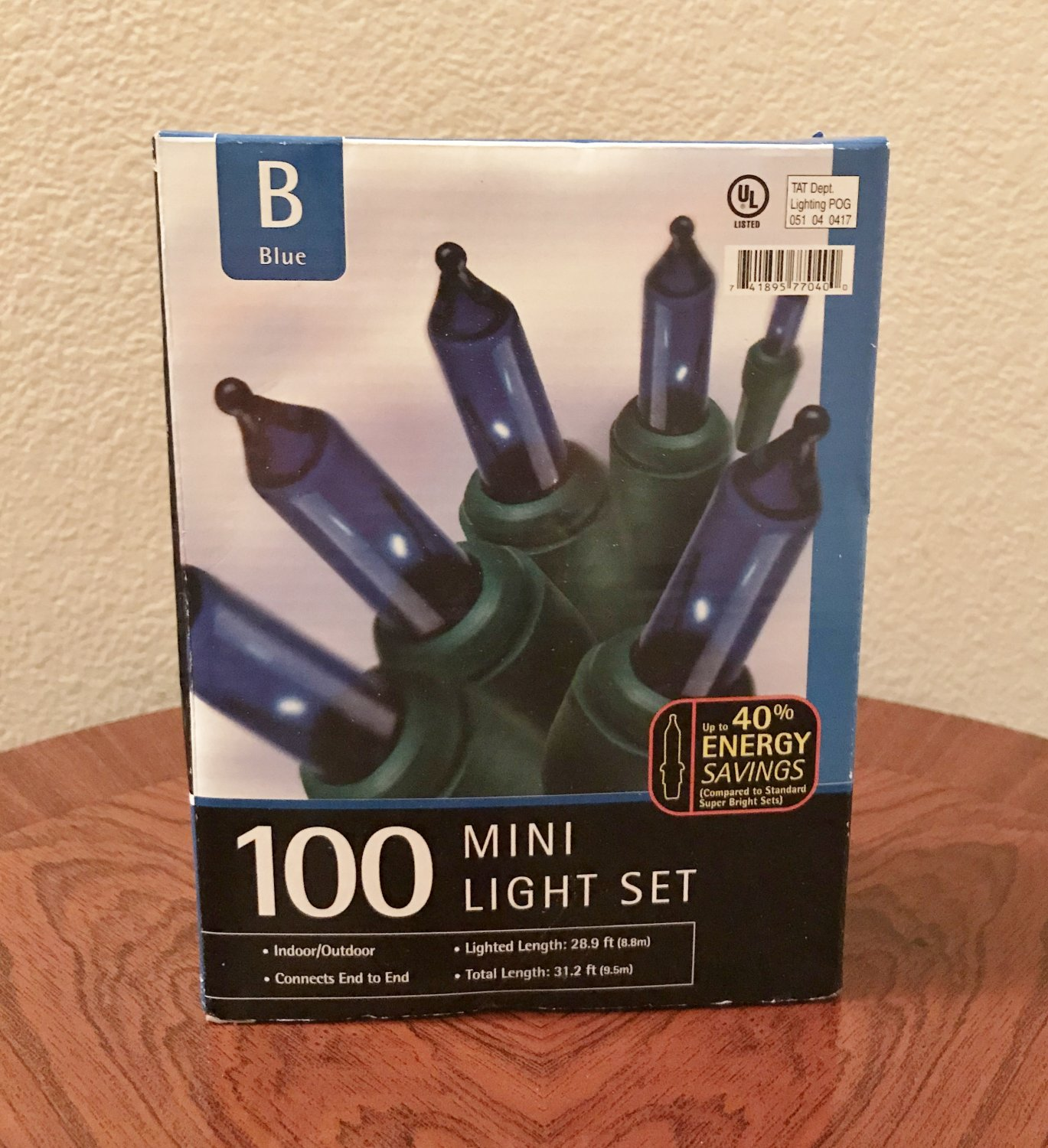 NIB 100 MINI LIGHT SET Indoor/Outdoor Christmas BLUE 31.2 FT String Home Decor