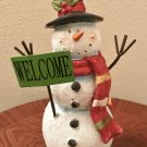 "NEW Christmas HOLIDAY SNOWMAN Tabletop Home Decor 10"" Tall Frosty with Welome Sign"