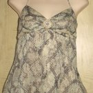 New LAUNDRY by Shelli Segal SILK HALTER TOP Size XS ANIMAL PRINT Lined