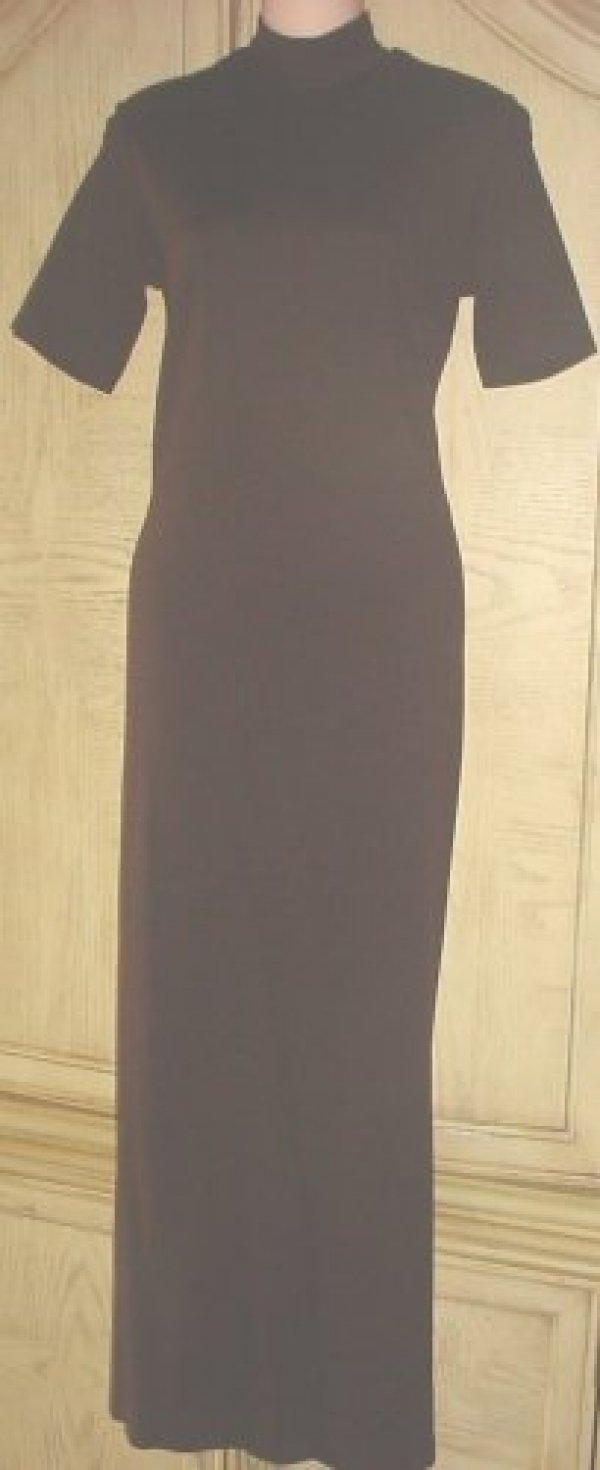 Harolds TURTLENECK DRESS Fitted Mid Calf Sheath SMALL 6/8 BROWN Stretch Knit