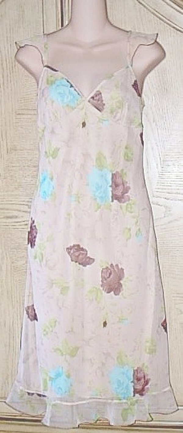 Ladies STUDIO SOLEIL SLIP DRESS Empire SMALL Tan Floral Print NEW