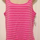 NWT Old Navy TANK TOP Ladies Stretch Tee XL T-Shirt BRIGHT PINK Stripe