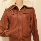 New LEATHER BOMBER JACKET Juniors Faux Fur Lined Winter Coat SMALL Brown
