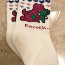 NEW Baby BARNEY SOCKS 1 Pair SIZE 0-6 Months WHITE with Pink Cuff