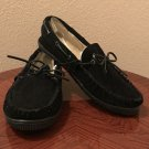 NEW Mens SLIPPERS Shearling Lined Mocs 11M Indoor/Outdoor Shoes BLACK SUEDE