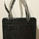 NEW Retro STRUCTURED PURSE Handbag Multi Compartment BLACK Croc Texture Bag