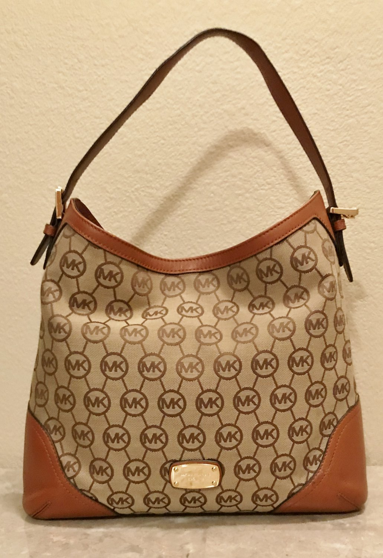 MICHAEL KORS PURSE Monogram Logo Bucket Shoulder Bag MEDIUM LUGGAGE BROWN