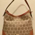 MICHAEL KORS PURSE Monogram Logo Bucket Shoulder Bag MEDIUM LUGGAGE BROWN