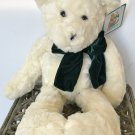 "PLUSH TEDDY BEAR Chosun Stuffed Animal 18"" High with Velvet Bow CREAM"