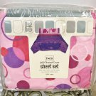 New SHEET SET Kids 3 Piece Set TWIN SIZE 100% Cotton PINK / PURPLE PRINT