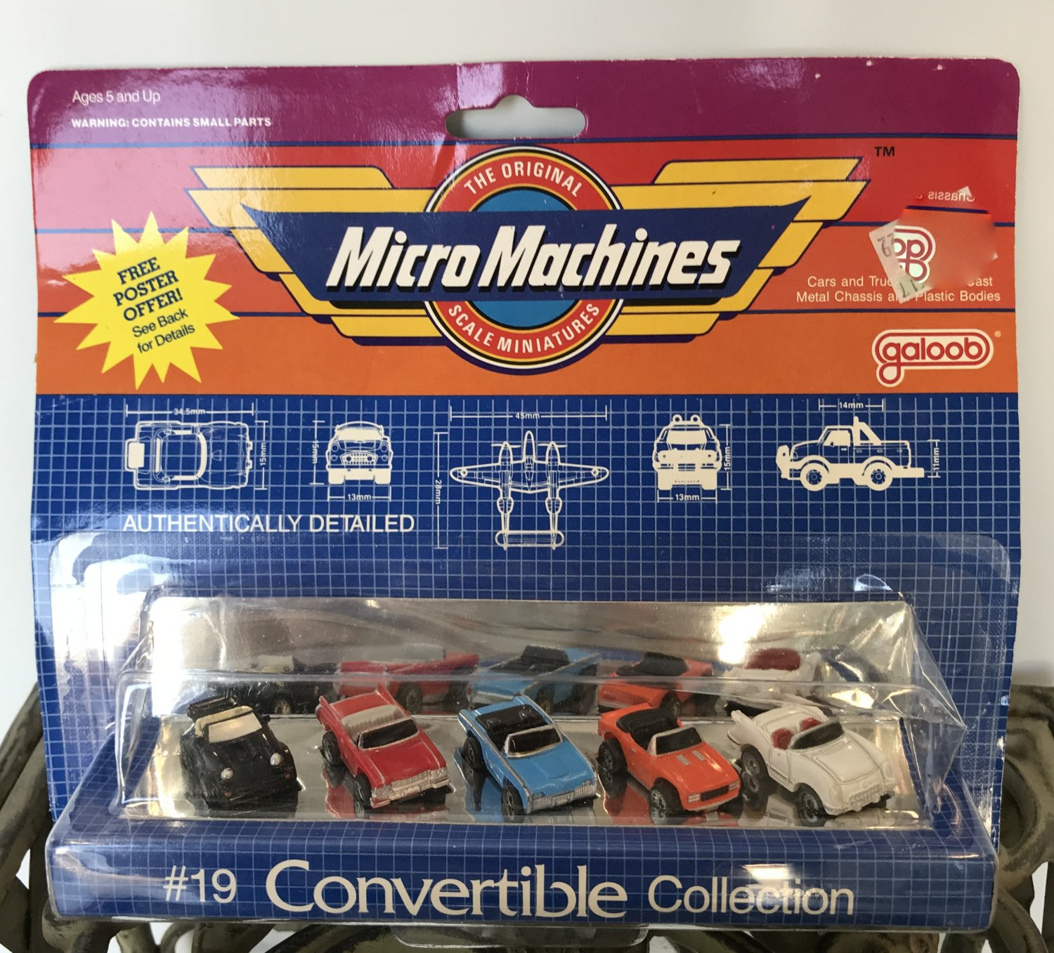 MICRO MACHINES CONVERTIBLE COLLECTION #19 Galoob Scale Miniature Vehicles 1985 Vintage Toy