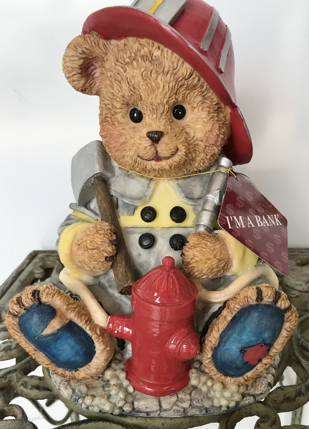 Vintage CERAMIC COIN BANK Fire Fighter Bear with Tools Coin Money COLLECTIBLE