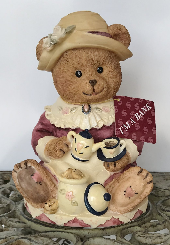NEW Vintage CERAMIC COIN BANK Lady Bear Tea Party COLLECTIBLE