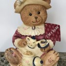 NEW Vintage CERAMIC COIN BANK Lady Bear Tea Party COLLECTIBLE