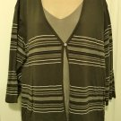 NEW Womens LAYERED SWEATER Studio IPR Cardigan with Shell 2X OLIVE GREEN