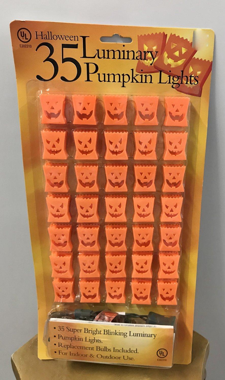 New LUMINARY PUMPKIN LIGHTS Indoor/Outdoor STRING OF 35 Super Bright Blinking