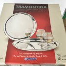 NIB SERVING TRAY SET Tramontina 2 PIECE GIFT Stainless Steel Round Trays