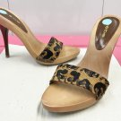 Bebe WOOD PLATFORM SLIDES Ladies Haircalf Heels SIZE 7 CHEETAH PRINT Shoes