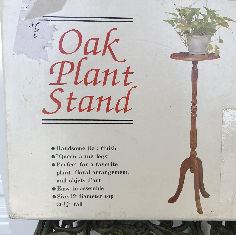 NIB PLANT STAND Queen Anne OAK FINISH Garden Patio Home Decor