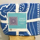 NWT BEACH BLANKET Throw Camping, Sport Events LARGE 60 x 60 BLUE Bandana Print