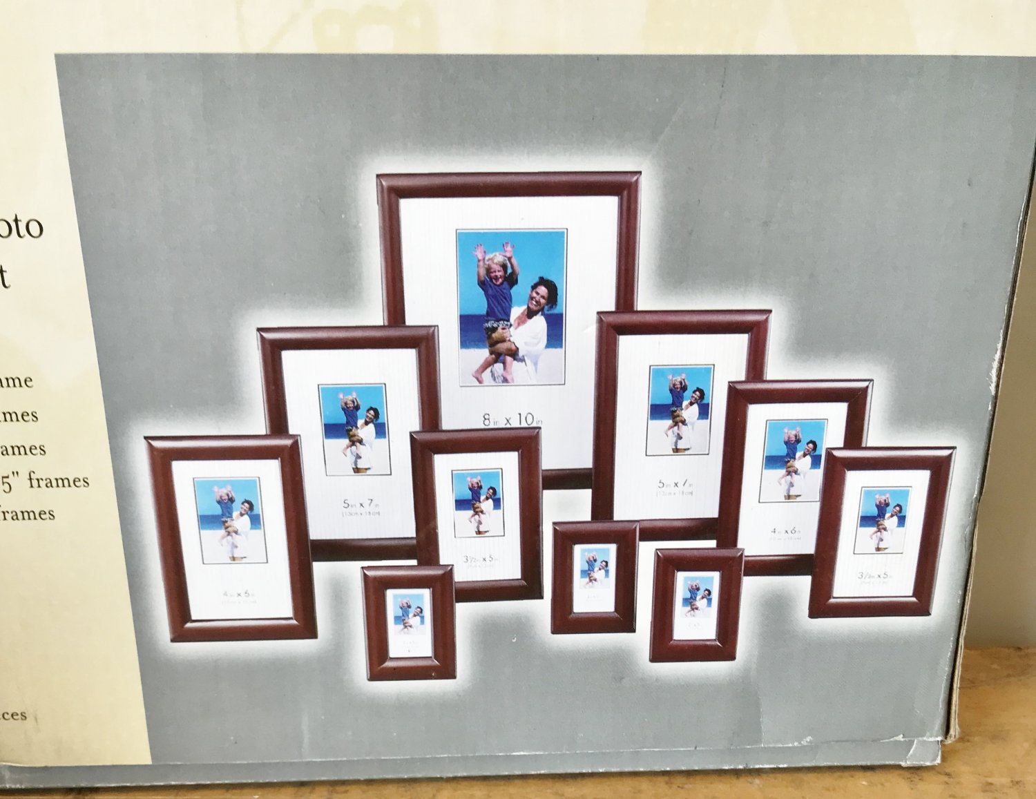 NIB PHOTO FRAME SET 10 PIECE Gallery Interior CHERRY WOOD Home Decor GIFT