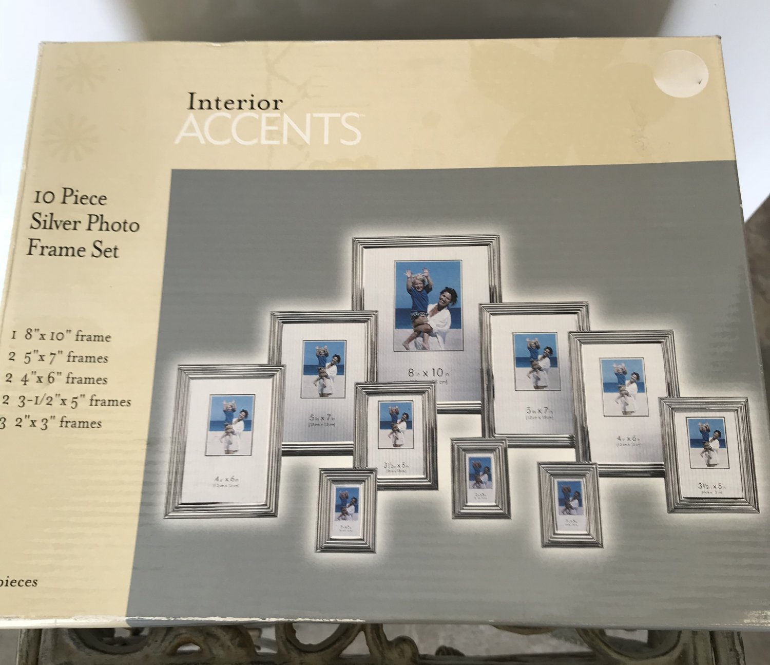 NIB PHOTO FRAME SET 10 PIECE Gallery Interior SILVER Home Decor GIFT