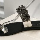 Ladies JEWELED SANDALS Flat Shoes SIZE 10 BLACK
