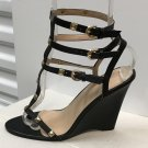 Ladies WEDGE SANDALS Caged Heels SIZE 9 BLACK Leather Shoes with Gold Studs