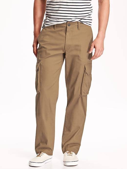 NWT Mens CARGO PANTS Old Navy Relaxed Fit 34 X 36 DARK TAN 100% Cotton